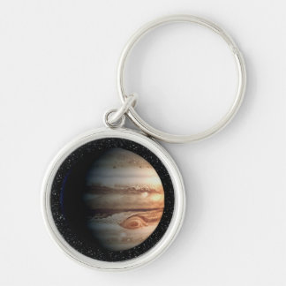 PLANET JUPITER star background (solar system) ~ Silver-Colored Round Keychain