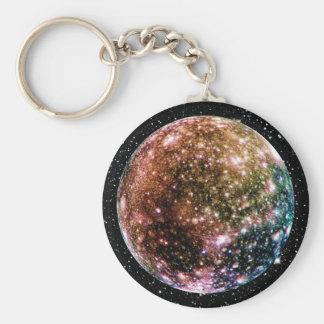 PLANET JUPITER'S MOON - CALLISTO Star Background 2 Basic Round Button Keychain