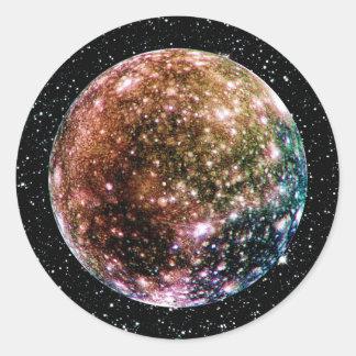 PLANET JUPITER'S MOON - CALLISTO Star Background 2 Classic Round Sticker