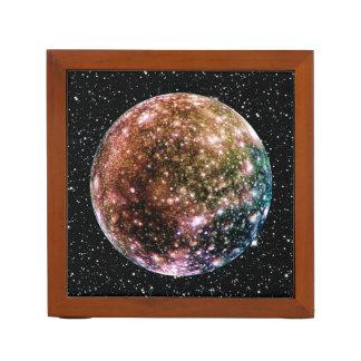 PLANET JUPITER'S MOON - CALLISTO Star Background 2 Desk Organizer