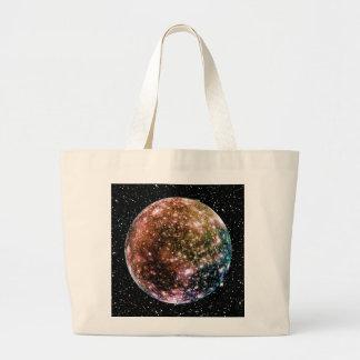PLANET JUPITER'S MOON - CALLISTO Star Background 2 Large Tote Bag