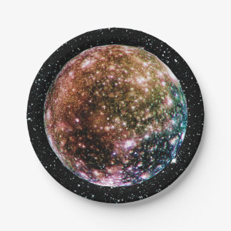 PLANET JUPITER'S MOON - CALLISTO Star Background 2 Paper Plate