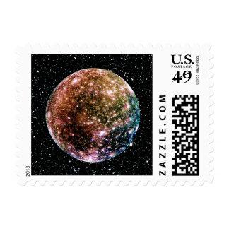 PLANET JUPITER'S MOON - CALLISTO Star Background 2 Postage