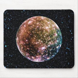 PLANET JUPITER'S MOON: CALLISTO (Star Background) Mousepads