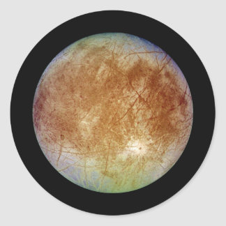 PLANET JUPITER'S MOON EUROPA (solar system) ~ Classic Round Sticker