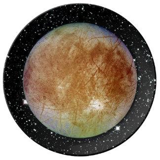 PLANET JUPITER'S MOON EUROPA star background Dinner Plate