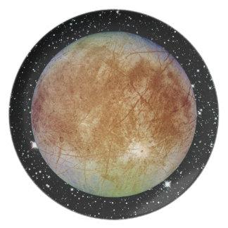 PLANET JUPITER'S MOON EUROPA star background Melamine Plate
