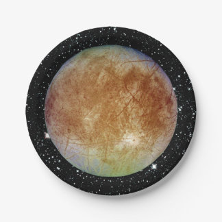 PLANET JUPITER'S MOON EUROPA star background Paper Plate