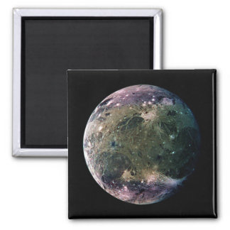 PLANET JUPITER'S MOON GANYMEDE natural v.2 2 Inch Square Magnet