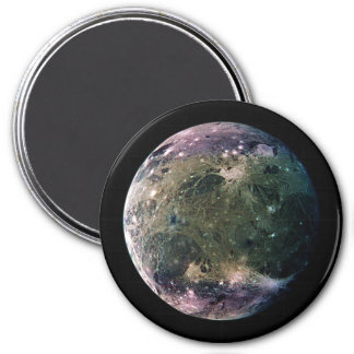 PLANET JUPITER'S MOON GANYMEDE natural v.2 3 Inch Round Magnet
