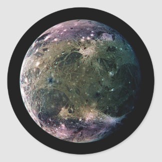 PLANET JUPITER'S MOON GANYMEDE natural v.2 Classic Round Sticker
