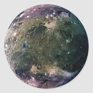 PLANET JUPITER'S MOON GANYMEDE (solar system) ~ Classic Round Sticker