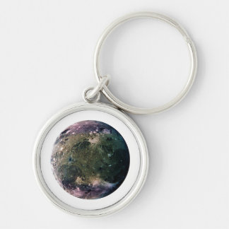PLANET JUPITER'S MOON GANYMEDE (solar system) ~~ Silver-Colored Round Keychain