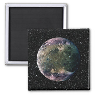 PLANET JUPITER'S MOON GANYMEDE star background ~ 2 Inch Square Magnet