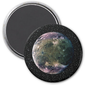 PLANET JUPITER'S MOON GANYMEDE star background ~ 3 Inch Round Magnet