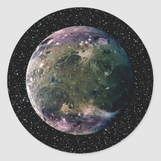 PLANET JUPITER'S MOON GANYMEDE star background ~ Classic Round Sticker