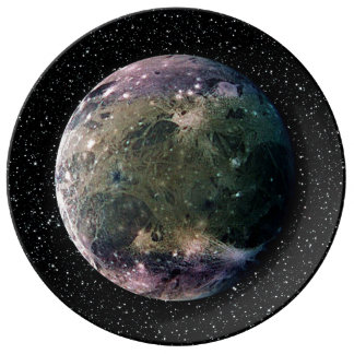 PLANET JUPITER'S MOON GANYMEDE star background ~ Porcelain Plate