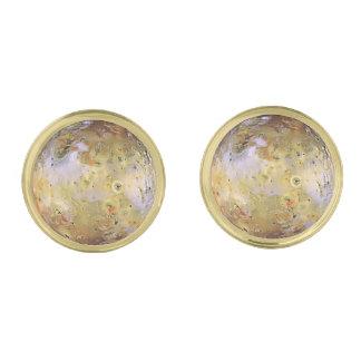 PLANET JUPITER'S MOON IO (solar system) ~ Gold Cufflinks