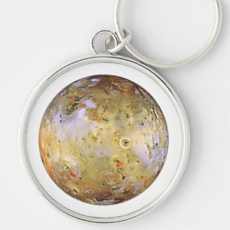 PLANET JUPITER'S MOON IO (solar system) ~~ Silver-Colored Round Keychain