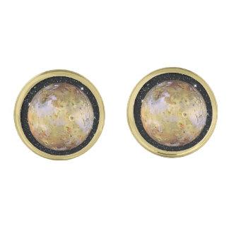 PLANET JUPITER'S MOON IO star background Gold Cufflinks