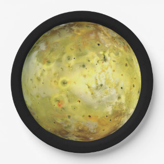 PLANET JUPITER'S MOON IO true color (solar system) 9 Inch Paper Plate
