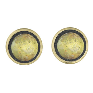 PLANET JUPITER'S MOON IO true color  (space) ~ Gold Cufflinks