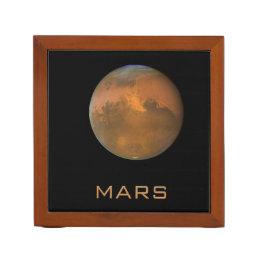 Planet Mars Full Orange on Black Desk Organizer