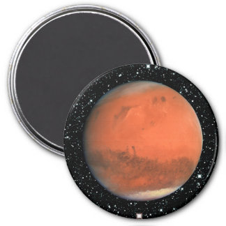 PLANET MARS true color star background ~ 3 Inch Round Magnet