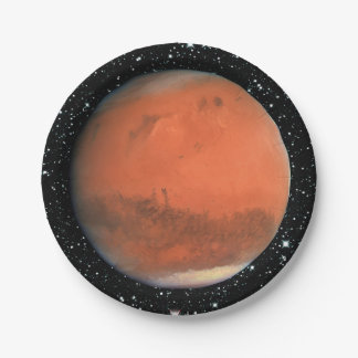 PLANET MARS true color star background ~ Paper Plate