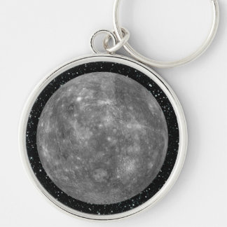 PLANET MERCURY star background (solar system) ~ Silver-Colored Round Keychain