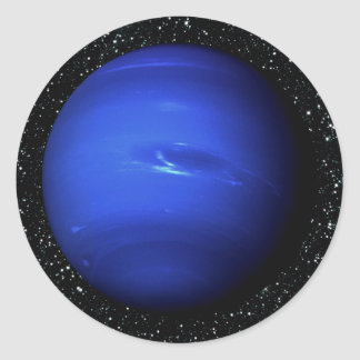 PLANET NEPTUNE Star Background 2 (solar system) ~. Classic Round Sticker