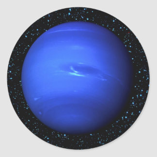 PLANET NEPTUNE Star Background (solar system) ~~~. Classic Round Sticker