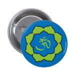 Planet Om blue/green Om Lotus Pinback Buttons