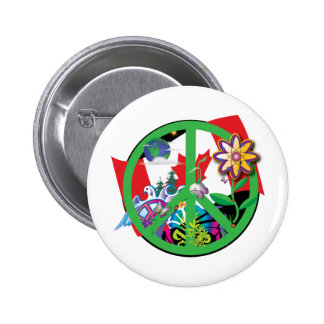 Planet Peace CA 2 Inch Round Button