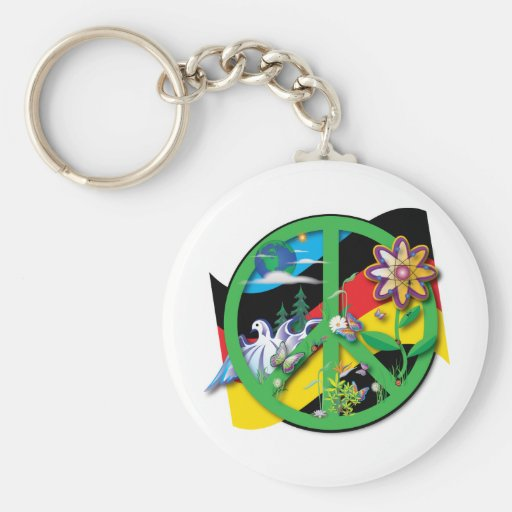 Planet Peace Germany Basic Round Button Keychain