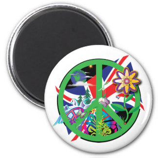 Planet Peace 2 Inch Round Magnet