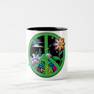 Planet Peace Two-Tone Coffee Mug