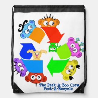 Planet Peek-A-Boo Recycle Design Drawstring Bag