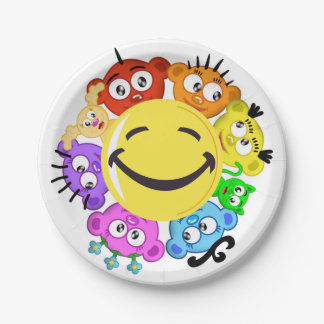 PLANET PEEK-A-BOO Smiling Plate Design 7 Inch Paper Plate