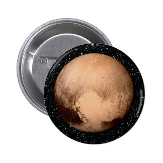 PLANET PLUTO HEART star background (solar system) 2 Inch Round Button