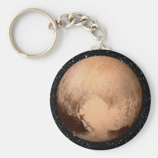 PLANET PLUTO HEART star background (solar system) Keychain