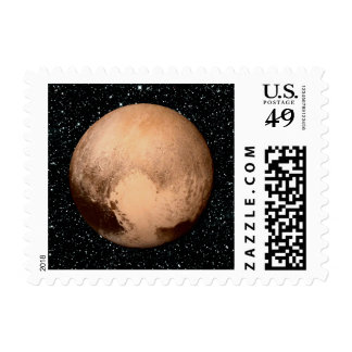PLANET PLUTO HEART star background (solar system) Stamp