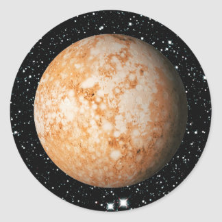 PLANET  PLUTO star background (solar system) ~ Classic Round Sticker