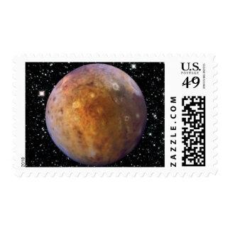PLANET PLUTO star background (solar system) ~ Stamp