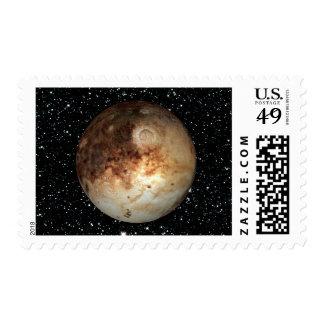 PLANET PLUTO star background ( solar system) ~ Stamp