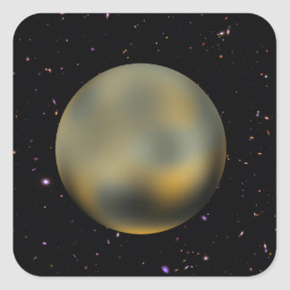 Planet Pluto Starry Sky Square Stickers
