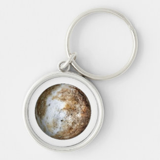 PLANET PLUTO v2 (solar system) ~~ Silver-Colored Round Keychain