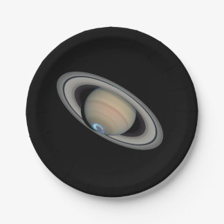 Planet Saturn Aurora and Rings Paper Plates 7 Inch Paper Plate