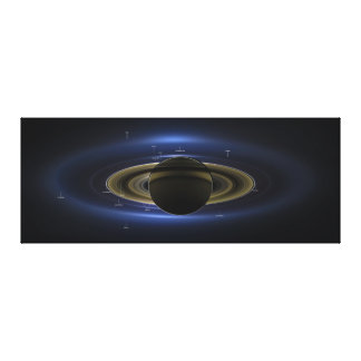 Planet Saturn in Front of the Sun Annotated Stretched Canvas Print