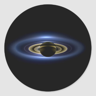 Planet Saturn in Front of the Sun Classic Round Sticker